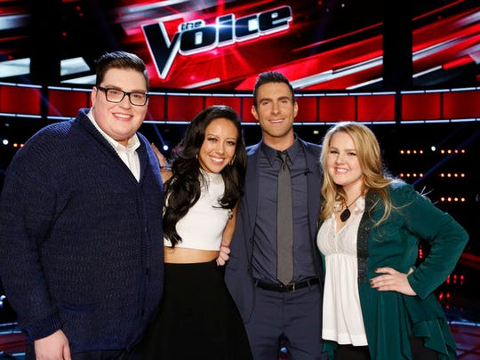 "Team Adam - Jordan Smith, Amy Vachal, Adam Levine and Shelby Brown are happy together after the Top 10 results on ""The Voice."""