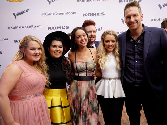 "Franklin's Amy Vachal is flanked by Shelby Brown, Madi Davis, Jeffrey Austin, Emily Ann Roberts and Barrett Baber at ""The Voice"" semifinals."