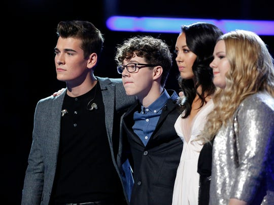 "Awaiting ""The Voice"" semifinal results onstage are Zach Seabaugh, Braiden Sunshine, Amy Vachal and Shelby Brown."