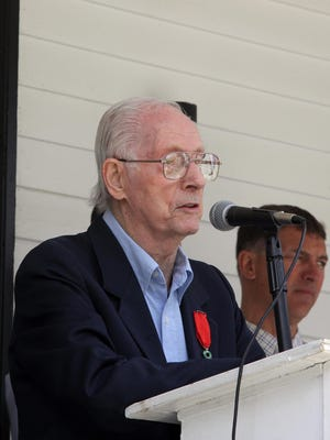 Francis M. Dorsey speaks during a ceremony to mark the 70th anniversary of D-Day at Stony Point Town Hall on June 6, 2014.