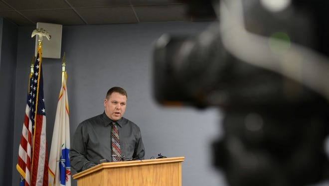 Lieutenant Jeff Brester goes over the details of an arrest made in a homicide case involving a 4-month-old in June at the Green Bay Police Department on Monday.
