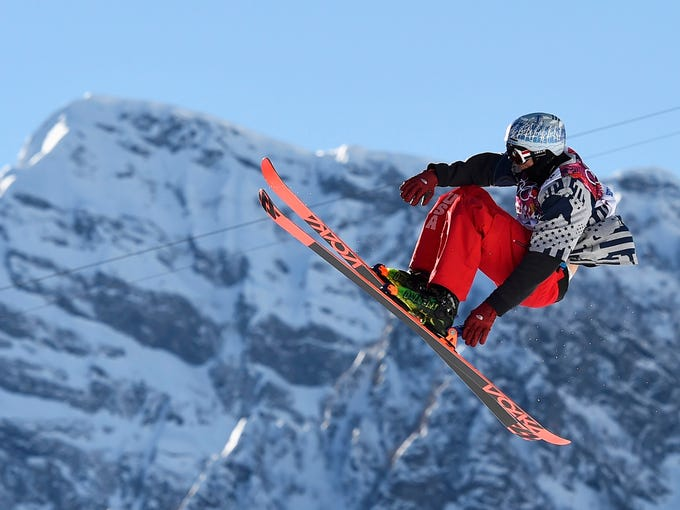 Nicholas Goepper of the U.S. performs a jump during the men's freestyle skiing slopestyle qualification round at the 2014 Sochi Winter Olympic Games in Rosa Khutor February 13, 2014. REUTERS/Dylan Martinez (RUSSIA  - Tags: SPORT SKIING OLYMPICS)