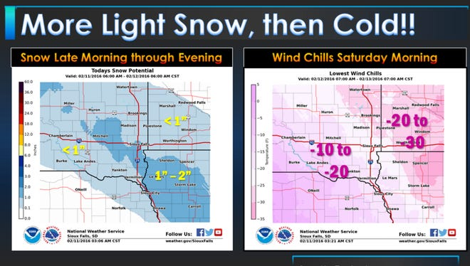 Light snow could impact the Thursday evening commute.