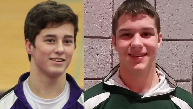 Lakeview's Brendan Stevens (L) and Pennfield's Dillon Striplin.
