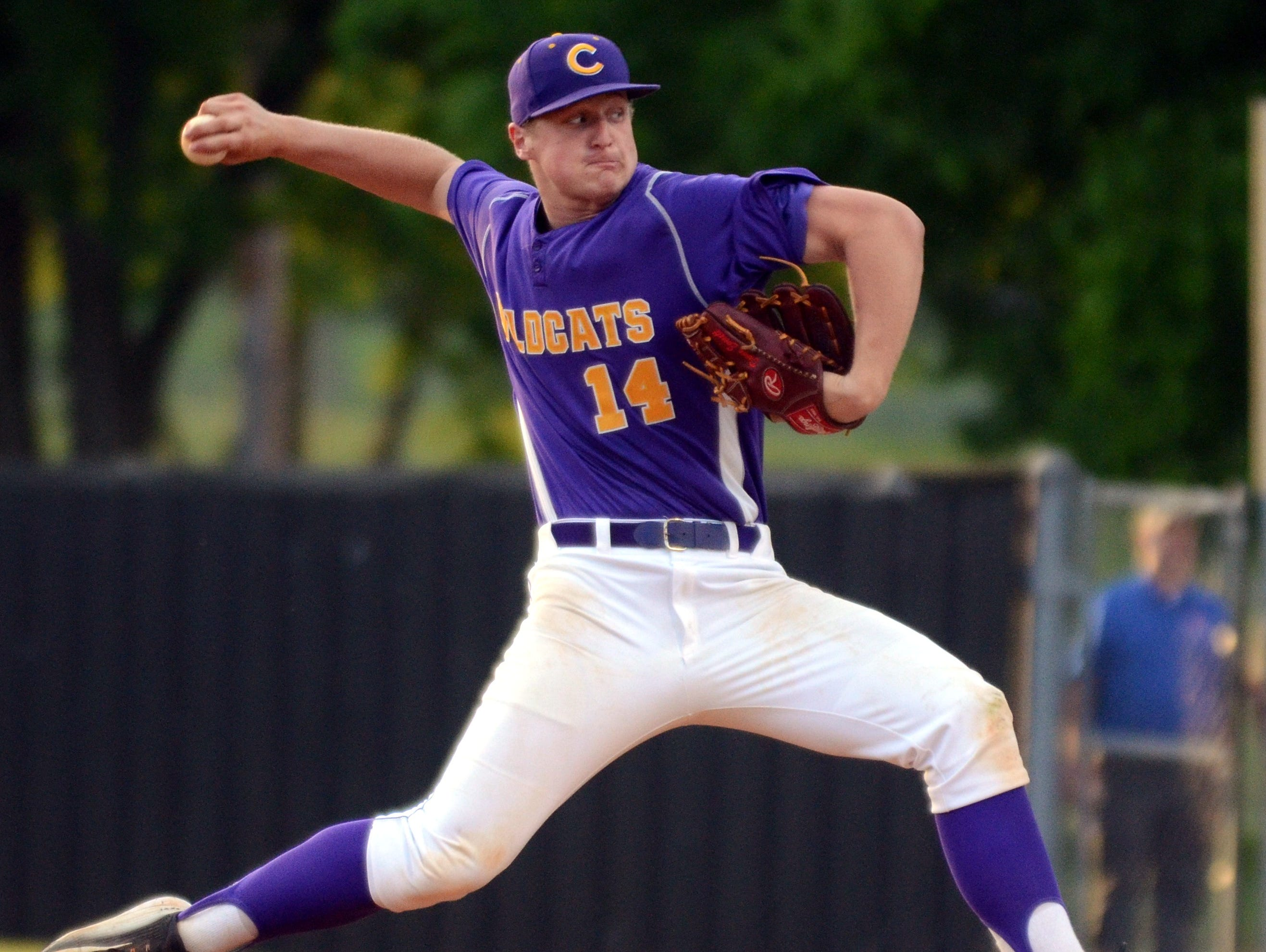 Clarksville High senior Donny Everett delivers a pitch during a recent game. Everett was named Class AAA Mr. Baseball during the inaugural awards Tuesday.