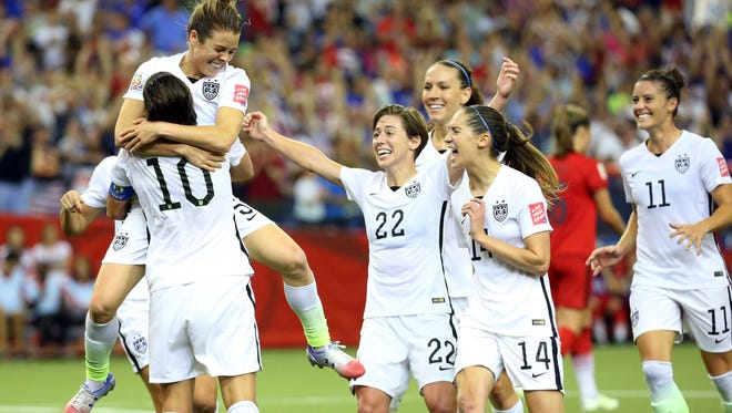 United States forward Kelley O'Hara celebrates her goal during the second half against Germany