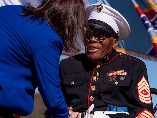 U.S. Rep. Martha Roby greets Pearl Harbor survivor