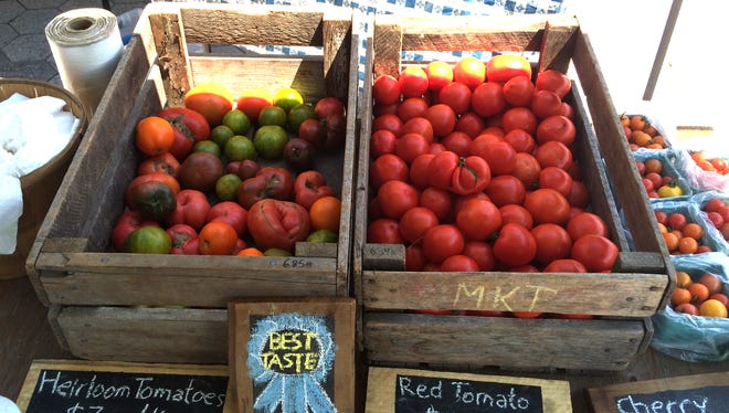 Tomatoes at a farmers' market.