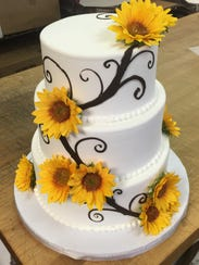 A wedding cake by Barb's Bakery.