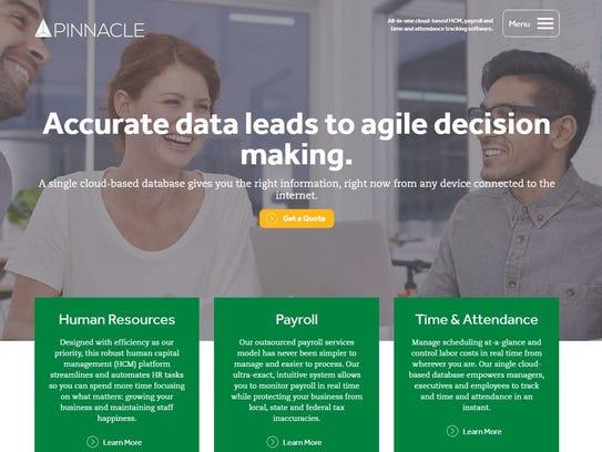 Screenshot of Pinnacle Workforce Solutions' website.