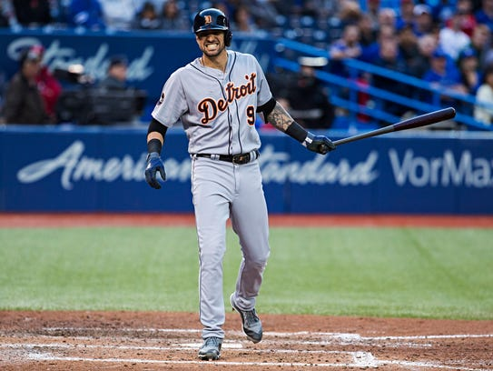 Detroit Tigers' Nicholas Castellanos (9) reacts after