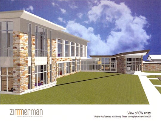 An architectural rendering of the exterior of the planned new library.