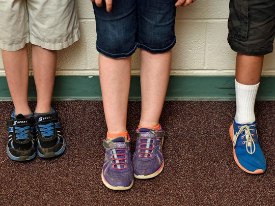 Third-graders at South Hamilton Elementary School students, wear acceptable-length shorts for Chambersburg Area School District's dress code. The revised dress code still has restrictions on shorts length.
