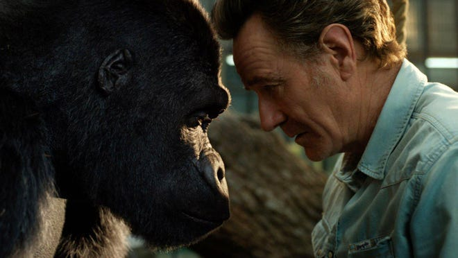 """Circus ringleader Mack (Bryan Cranston), right, with a gorilla named Ivan (voiced by Sam Rockwell) in """"The One and Only Ivan"""""""