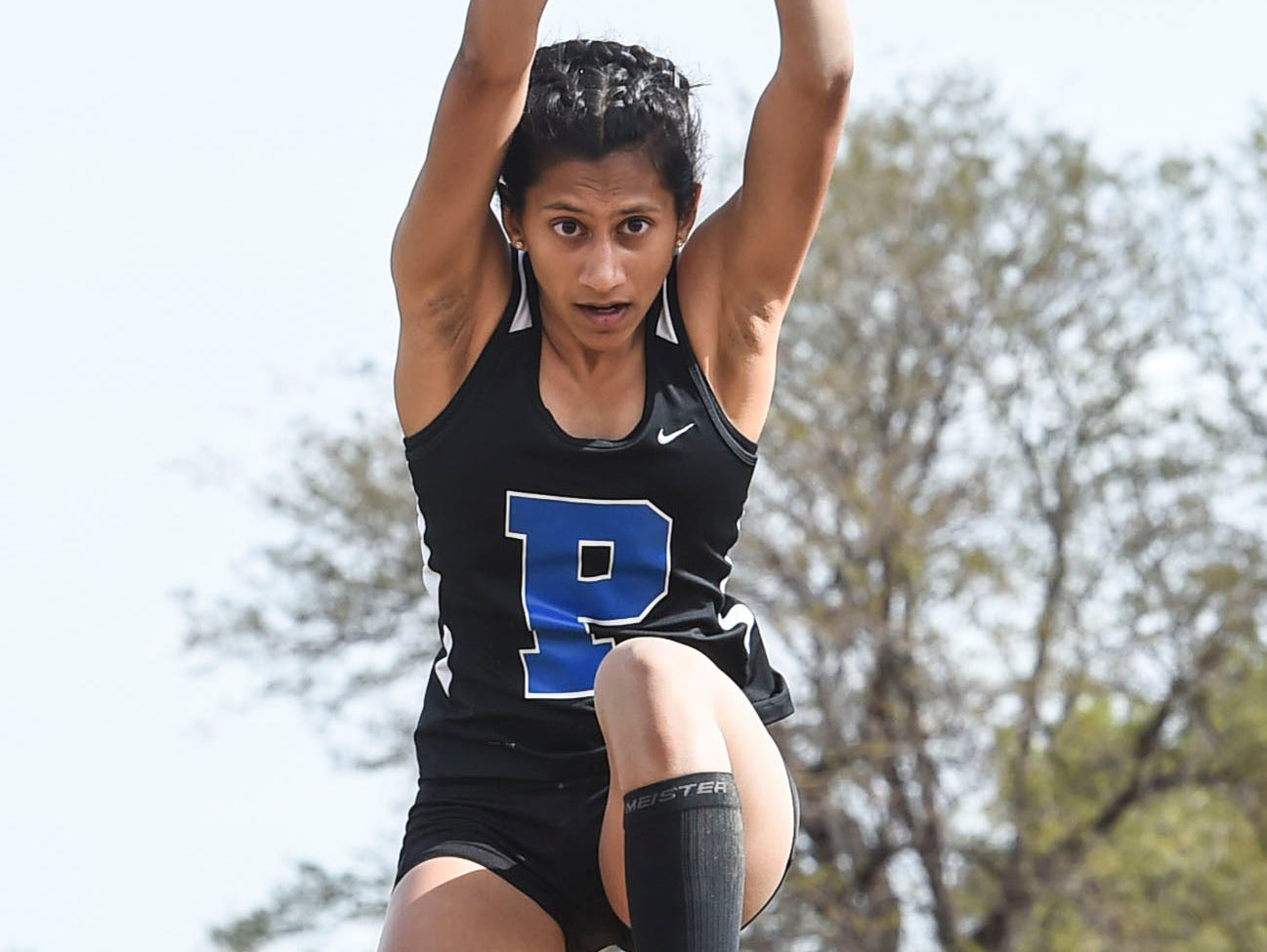 Poudre's Tarah Vijayasarathy competes in the triple jump event Thursday, May 14, 2015, at Jefferson County Stadium in Lakewood, CO.