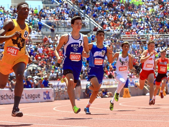 Ben Bolt's Mikel Escobar competes in the 2A boys 800 meter run during the UIL State Track & Field Championships on Saturday, May, 13, 2017, at Mike A. Myers Stadium in Austin.