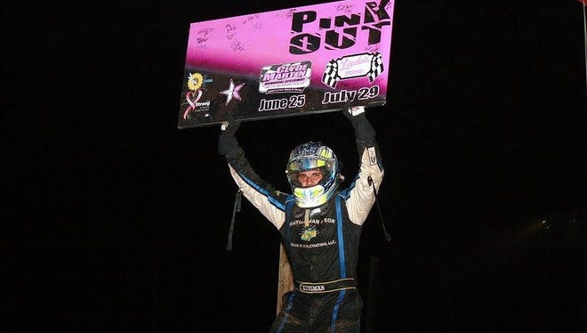 Tommy Kunsman celebrates his Wingless 600 Micro Sprint victory at Linda's Speedway on Pink Out Night.