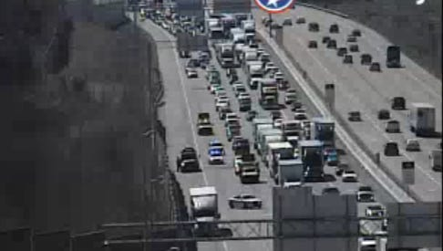 A crash blocks the right lanes of I-65 north near Vietnam Vets Parkway Sunday, March 12, 2017.