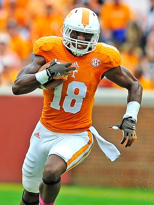 Tennessee wide receiver Jason Croom (18) finds open field as the University of Tennessee plays Chattanooga in Neyland Stadium.Saturday Oct. 11, 2014, in Knoxville, TN.