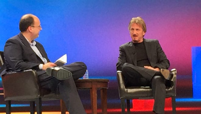 Actor and activist Sean Penn being interviewed by Hugh Thompson, program chair for the RSA computer security conference in San Francisco on March 4, 2016.