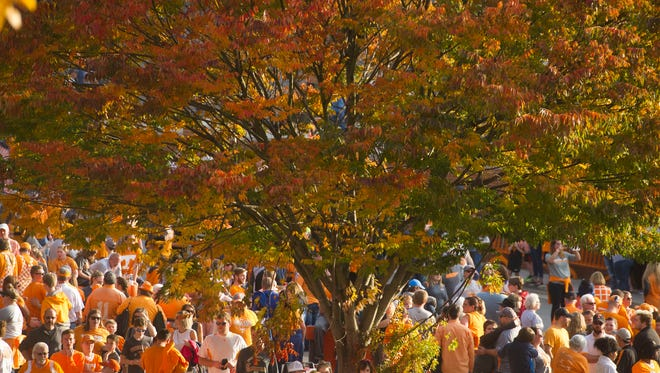 Fall colors decorate the University of Tennessee grounds as football fans mingle before the start of the game against Southern Miss on Saturday, November 4, 2017.