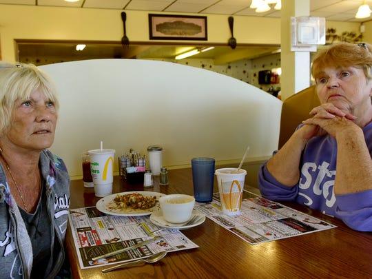 Gloria Beecher, left, and Helen Jett dine at Greyhound