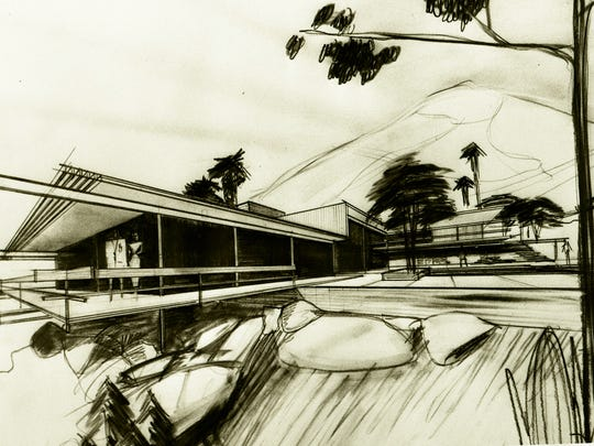 Architectural rendition by Hugh Kaptur of Steve McQueen's home in Southridge.
