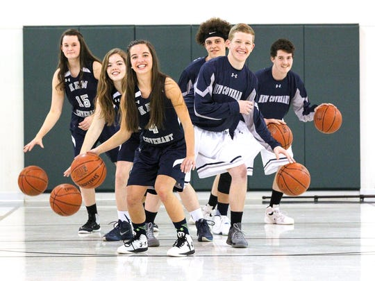 From left, Anna Milford, Rebecca Lamb, Molly Landis, Stuart Marshburn, Reese Miller, and Drew Milford helped New Covenant Christian School develop a program that in two years sent both boys and girls basketball teams to SCACS state championships.