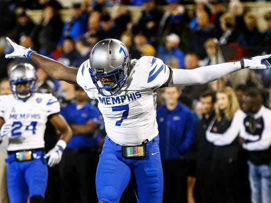 University of Memphis defender Curtis Akins celebrates