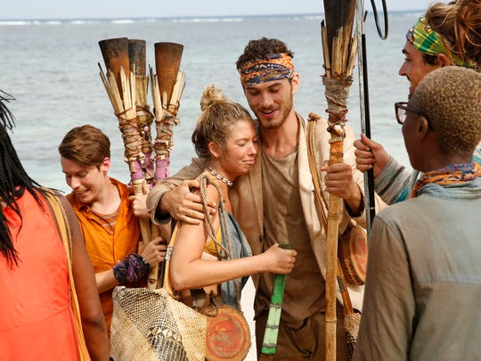 "From left are ""Survivor: Ghost Island"" contestants Donathan Hurley, Jenna Bowman, Michael Yerger, Sebastian Noel and Desiree Afuye."