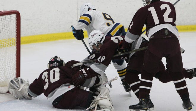 Pelham's Ben Hurd (9) during a game with Scarsdale at the Ice Hutch Jan. 12, 2017.