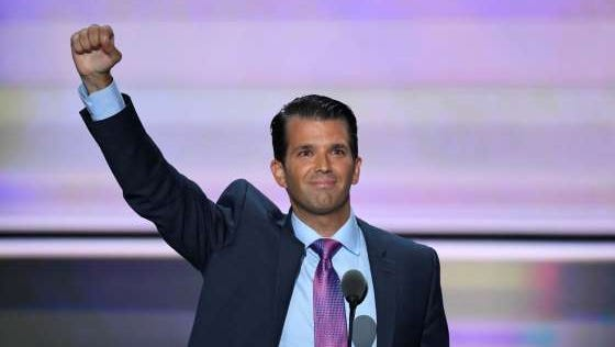Donald Trump, Jr., speaks during the 2016 Republican National Convention at Quicken Loans Arena.