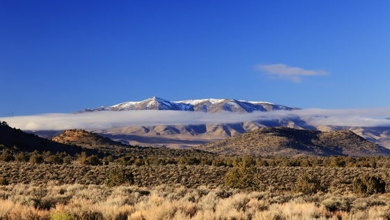 Submitted by Dale Andrews Early morning fog has drifted from Spanish Springs near the entrance to the Hungry Valley Indian Colony.