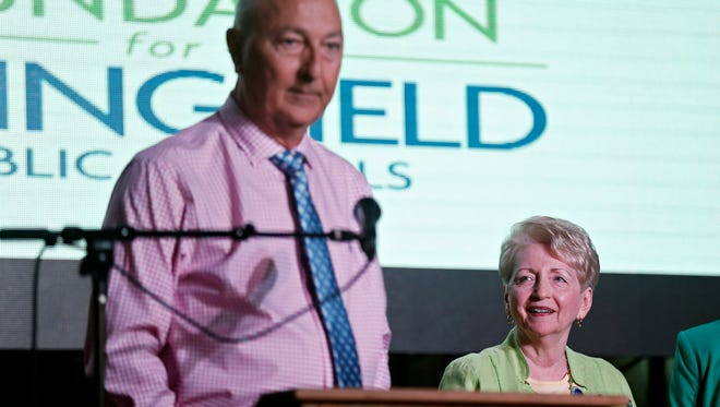 Stephen Brite (left) and Linda Paganini-Brite were honored by the Foundation for Springfield Public Schools as Advocates for Education during a donor luncheon at the Old Glass Place in Springfield, Mo. on Aug. 18, 2016.