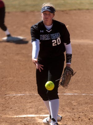 Piedra Vista's Sydney Schumacher delivers a pitch against Shiprock on Friday at the Farmington Sports Complex.
