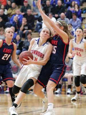 Appleton West High School's #11 Jamie Winsted against Appleton East High School's #15 Meghan Borowski during their girls basketball game on Friday, January 26, 2018, at Appleton West High School in Appleton, Wis. Wm. Glasheen/USA TODAY NETWORK-Wisconsin