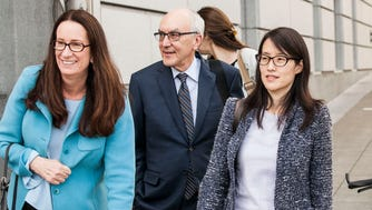 Ellen Pao, far right, a former venture capitalist at Kleiner Perkins Caufield and Byers, leaves the San Francisco Superior  Courthouse in San Francisco, CA with her attorneys Therese Lawless, left, and Alan Exelrod, center. Pao is seeking $16 million in back pay and for future wage losses based on her accusations of years of sexual harassment and discrimination toward women at the firm. The actual legal claim is for gender discrimination and retaliation.