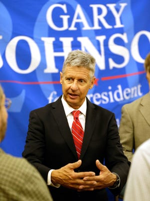 Libertarian presidential candidate Gary Johnson speaks to supporters and delegates at the National Libertarian Party Convention, Friday, May 27, 2016, in Orlando, Fla.