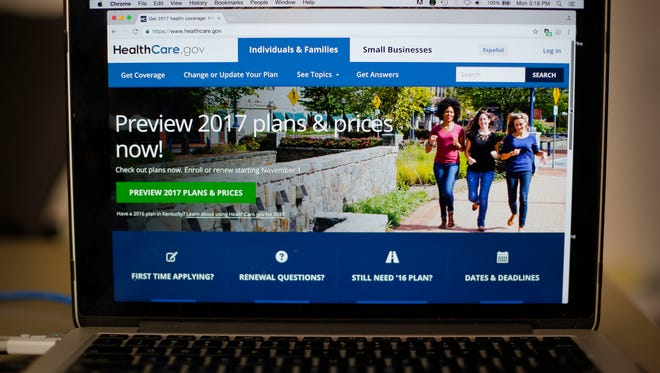 The HealthCare.gov 2017 website home page is seen on a laptop on Oct. 24, 2016.