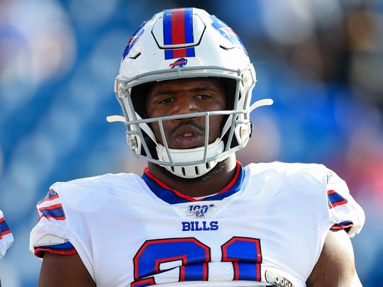 Aug 8, 2019; Orchard Park, NY, USA; Buffalo Bills defensive tackle Ed Oliver (91) looks on prior to the game against the Indianapolis Colts at New Era Field. Mandatory Credit: Rich Barnes-USA TODAY Sports
