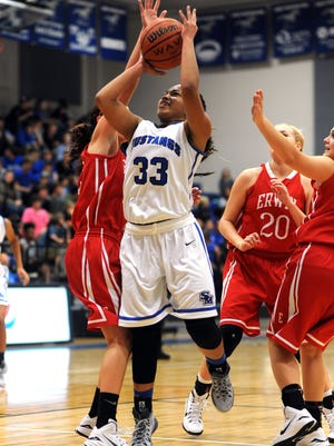 Smoky Mountain's Aaliyah McCollum goes up for a shot in last year's game against Erwin.