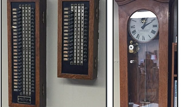 This original clock and an intercom system at Central Elementary School will be relocated in the rebuilt school.