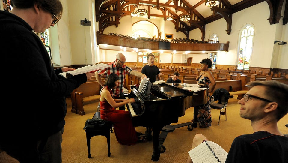 Members of the Mid-Ohio Opera rehearse for a performance.