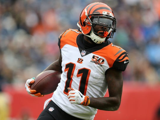 Cincinnati Bengals wide receiver Brandon LaFell (11) scores a touchdown in the first quarter during the Week 10 NFL game between the Cincinnati Bengals and the Tennessee Titans, Sunday, Nov. 12, 2017, at Nissan Stadium in Nashville, Tennessee.