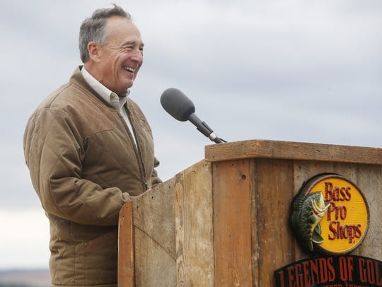 Bass Pro Shops founder Johnny Morris laughs as he speaks