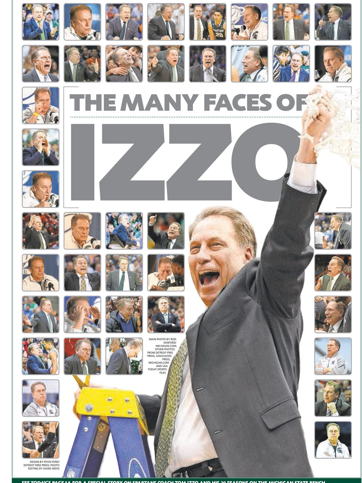 """A preview of our """"The Many Faces of Tom Izzo"""" page"""