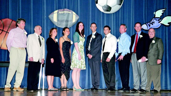 Peter Kasarjian (far right) is a member of the Plymouth Athletic Hall of Fame as an athlete as well as a coach