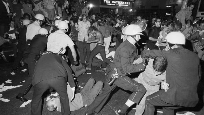 A confrontation between protesters and police in Chicago in 1968.