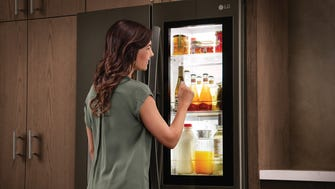 When you knock on this fridge's door, it turns transparent so you can see what's inside.