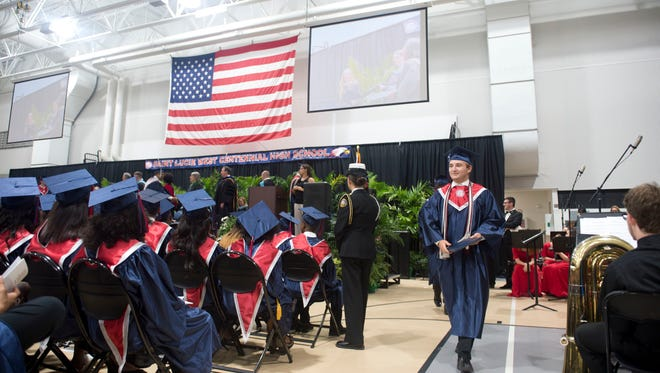 St. Lucie West Centennial High School hosted the 2017 commencement ceremony May 26 at the Havert L. Fenn Center in Fort Pierce. The school graduated 498 students, with 18 students leaving high school with associate's degrees, 11 students entering the military and one student attending Yale University in the fall.